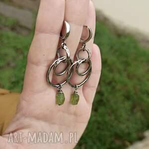 hand made kolczyki długie-kolczyki srebro i surowy peridot - długie