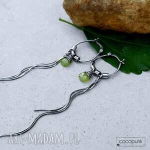 zielone kolczyki bardzo-długie srebro i wezuwian - bardzo długie
