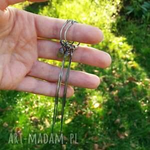 unikalne kolczyki kolczyki-żmijki srebro i wezuwian - bardzo długie