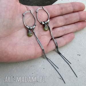 bardzo-długie kolczyki srebro i wezuwian - bardzo długie