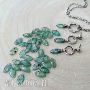handmade kolczyki codzienne srebro i zielony kianit -