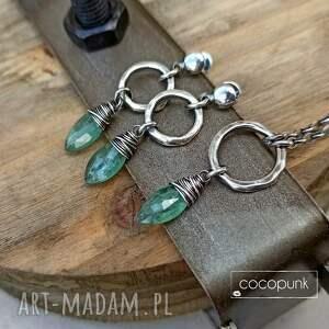 kolczyki zielone-kolczyki srebro i zielony kianit -