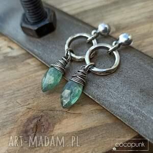 handmade kolczyki z-kamieniami srebro i zielony kianit -