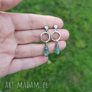 turkusowe kolczyki z-kamieniami srebro i zielony kianit -