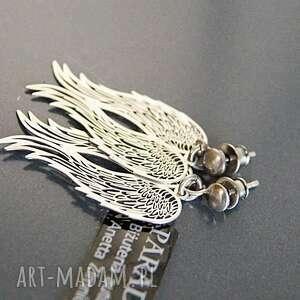 trendy kolczyki skrzydła srebro, koczyki srebrne anioły