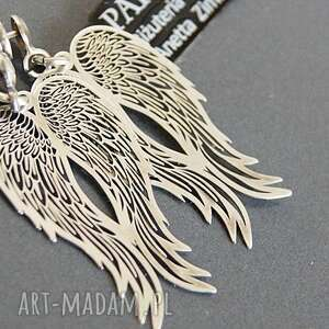 skrzydła kolczyki srebro, koczyki srebrne anioły