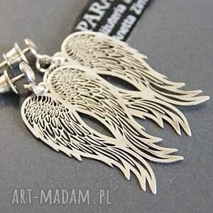 trendy kolczyki zawieszki srebro, koczyki srebrne anioły
