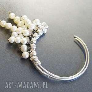 kolorowe perły srebro kolczyki - klasyka