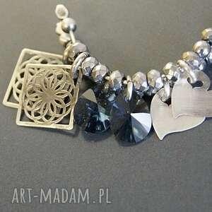 modne kolczyki koła srebro, swarovski blue