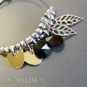 ręcznie wykonane kolczyki koła srebro, złote serduszka &
