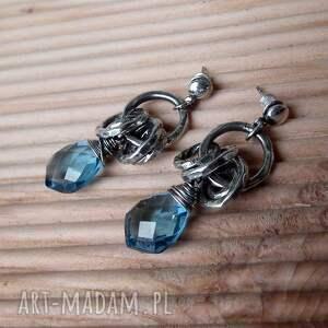 kolczyki nowoczesne srebro, kwarc london blue