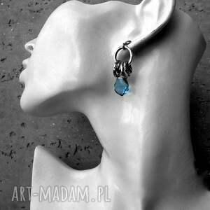 oksydowane kolczyki srebro, kwarc london blue