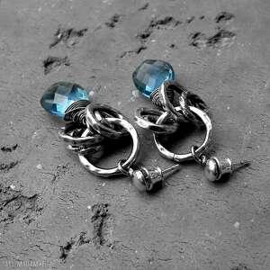 niebieskie kolczyki nowoczesne srebro, kwarc london blue