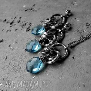 kolczyki oksydowane srebro, kwarc london blue