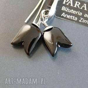 onyksy srebro, kolczyki - czarne tulipany
