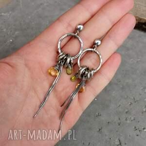 Srebro, peridot, cytryn - długie kolczyki koła - z kamieniami wiszące