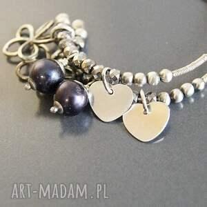 ręcznie wykonane kolczyki perły srebro, naturalne czarne