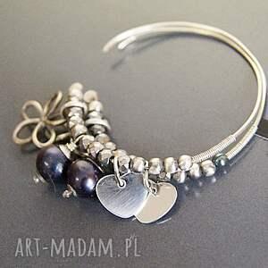 czarne kolczyki perły srebro, naturalne
