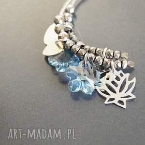 srebro kolczyki srebro, swarovski blue