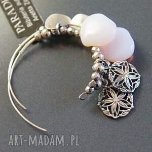 srebrne kolczyki opale srebro, w ażurowym