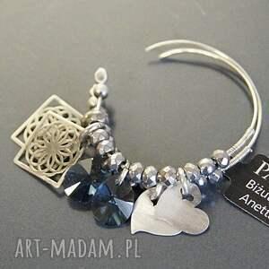 niebieskie kolczyki koła srebro, swarovski blue
