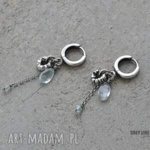 kolczyki srebro surowe z akwamarynem