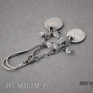 kolczyki srebro surowe z diamentami herkimer