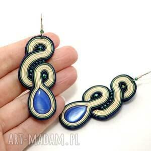 niebieskie kolczyki sznurek sutasz z masą perłową