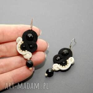 czarne kolczyki sznurek sutasz czarno -kremowe