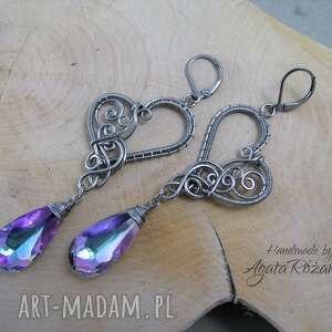 fioletowe kolczyki swarovski crystal vitrail