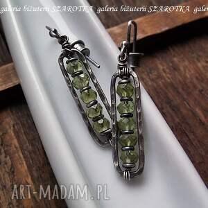 srebro świeża zieleń kolczyki z peridotów