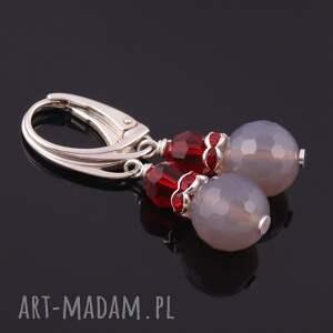 czerwone kolczyki szaro szaro-rubinowe