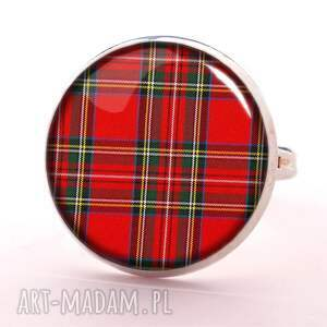 szkocka kolczyki czerwone krata - małe