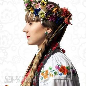 eleganckie folk kolczyki sztyfty wycinanka