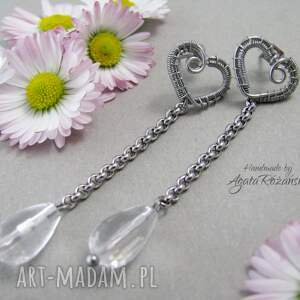 kolczyki kryształ-górski sztyfty z kryształem