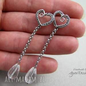 kryształ-górski kolczyki sztyfty z kryształem