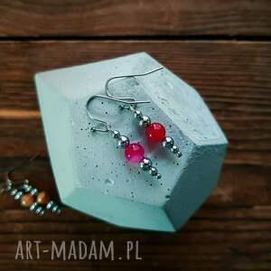 trendy kolczyki whw taste earrings pink agate