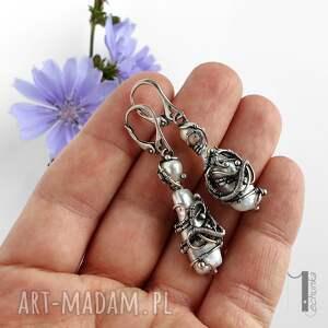 perły tempus srebrne kolczyki