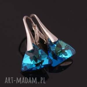 turkusowe kolczyki błękitne triangle, swarovski