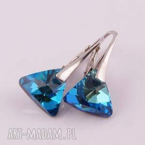 kolczyki błękitne triangle, swarovski