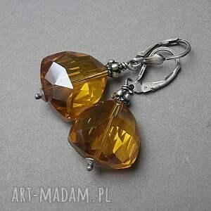 żółte kolczyki srebro triangle /cognac/ -