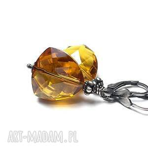 oryginalne kolczyki srebro triangle /cognac/ -