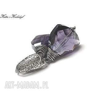ręcznie wykonane kolczyki srebro triangle violet -