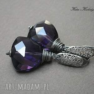 kolczyki szkło triangle violet -