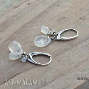kolczyki srebro trzy kamienie księżycowe