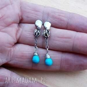 eleganckie srebro kolczyki turkusowe kropelki na splotach