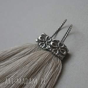 szare kolczyki srebro w kolorze lnu /boho/ -