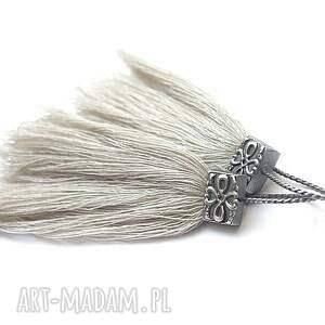 niesztampowe kolczyki srebro w kolorze lnu /boho/ -