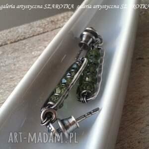 srebro oksydowane w zieleni kolczyki z oliwinu