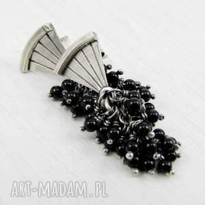 atrakcyjne kolczyki eleganckie wachlarz z czarnym ogonem